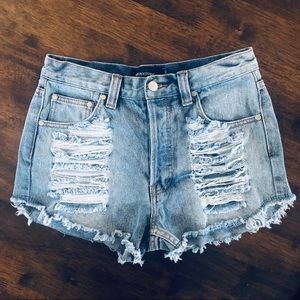 MINKPINK | Distressed Jean Shorts